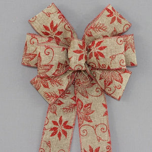 Natural Red Sparkle Poinsettia Rustic Wreath Bow - Package Perfect Bows