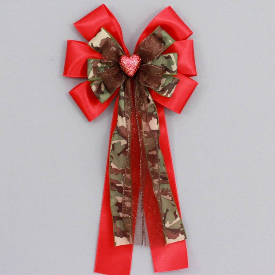 Red Sparkle Heart Camo Bow - Package Perfect Bows