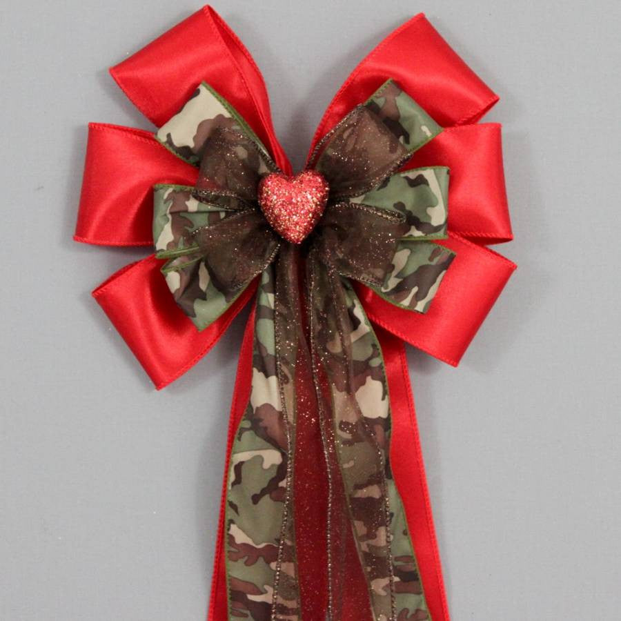 Red Sparkle Heart Camo Bow - Package Perfect Bows - 1
