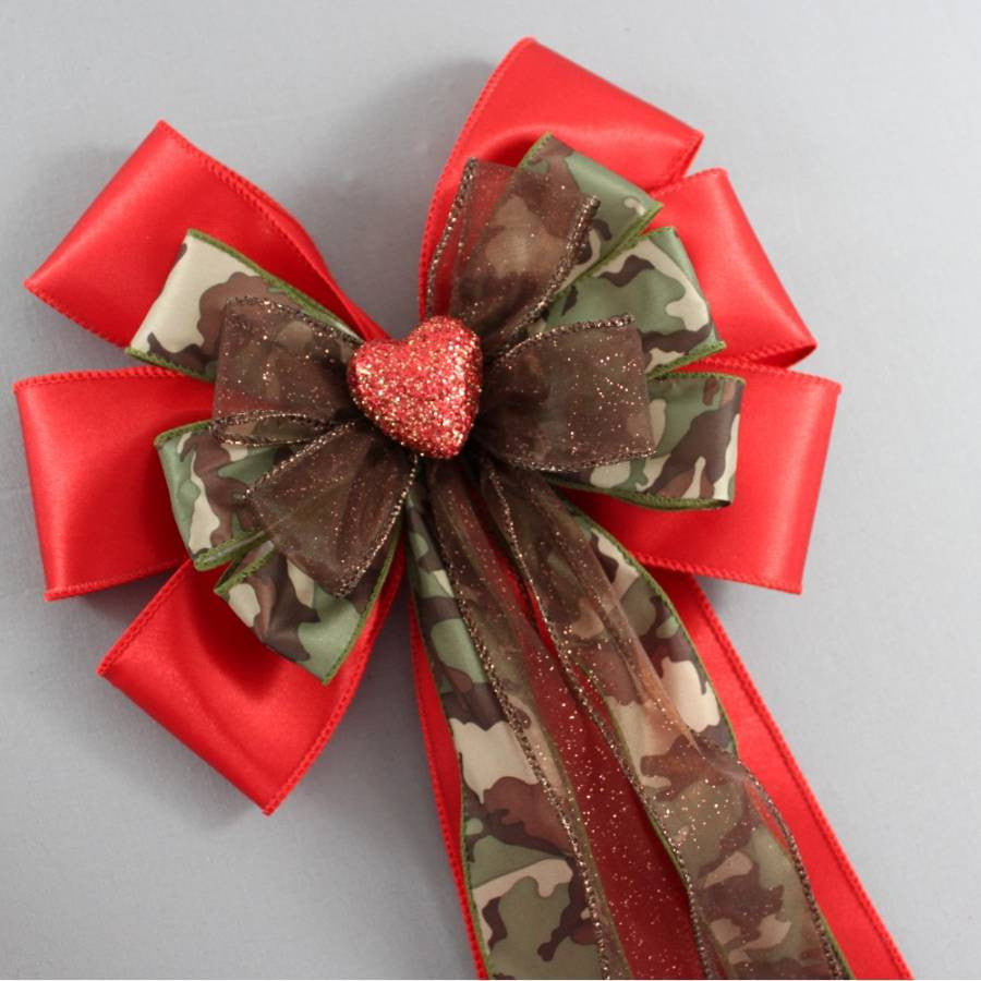 Red Sparkle Heart Camo Bow - Package Perfect Bows - 3