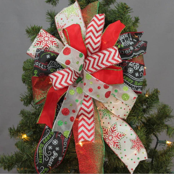 Funky Chalkboard Chevron Christmas Bow - Package Perfect Bows