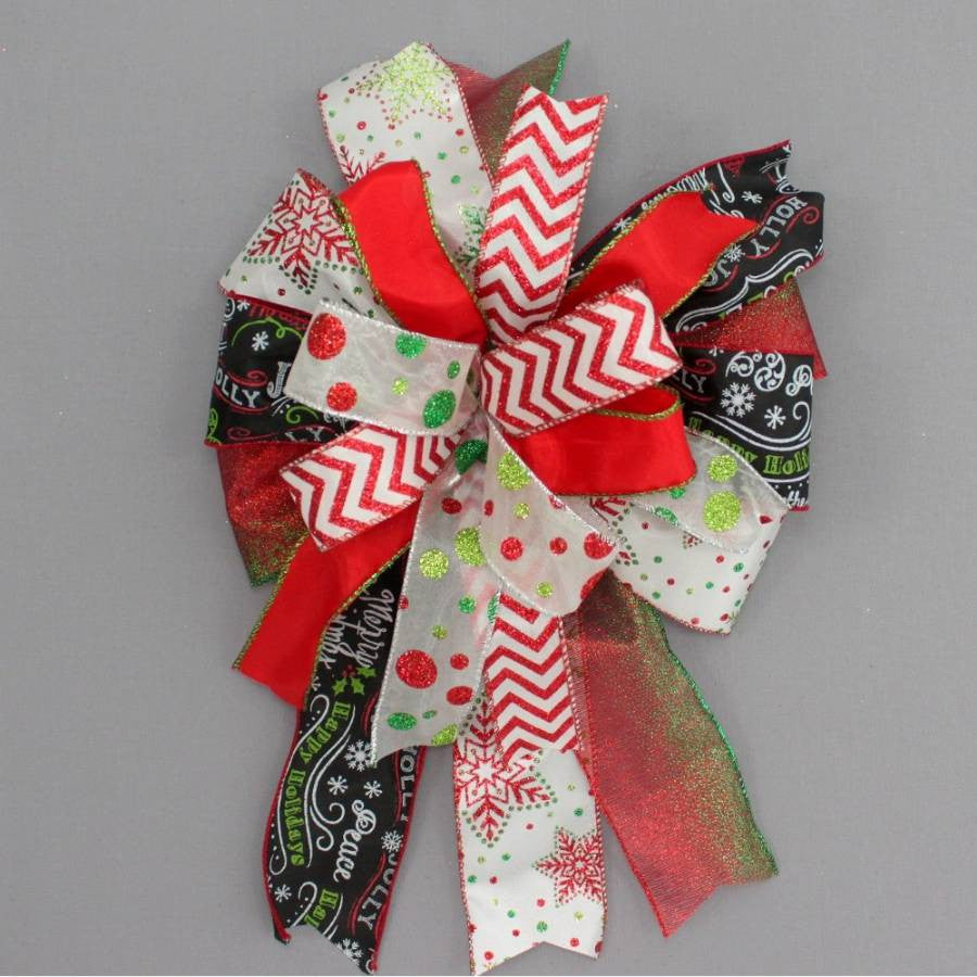 Funky Chalkboard Chevron Christmas Bow - Package Perfect Bows - 1