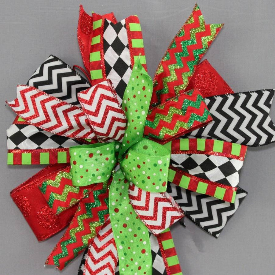 Funky Chevron Harlequin Christmas Bow - Package Perfect Bows