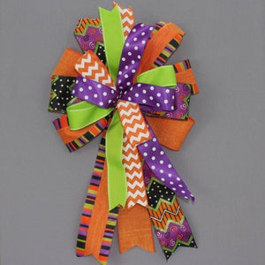 Chevron Dot Linen Funky Halloween Wreath Bow - Package Perfect Bows - 1