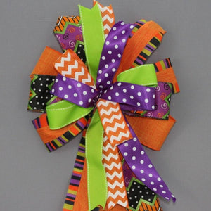 Chevron Dot Linen Funky Halloween Wreath Bow - Package Perfect Bows - 2