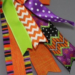 Chevron Dot Linen Funky Halloween Wreath Bow - Package Perfect Bows - 3