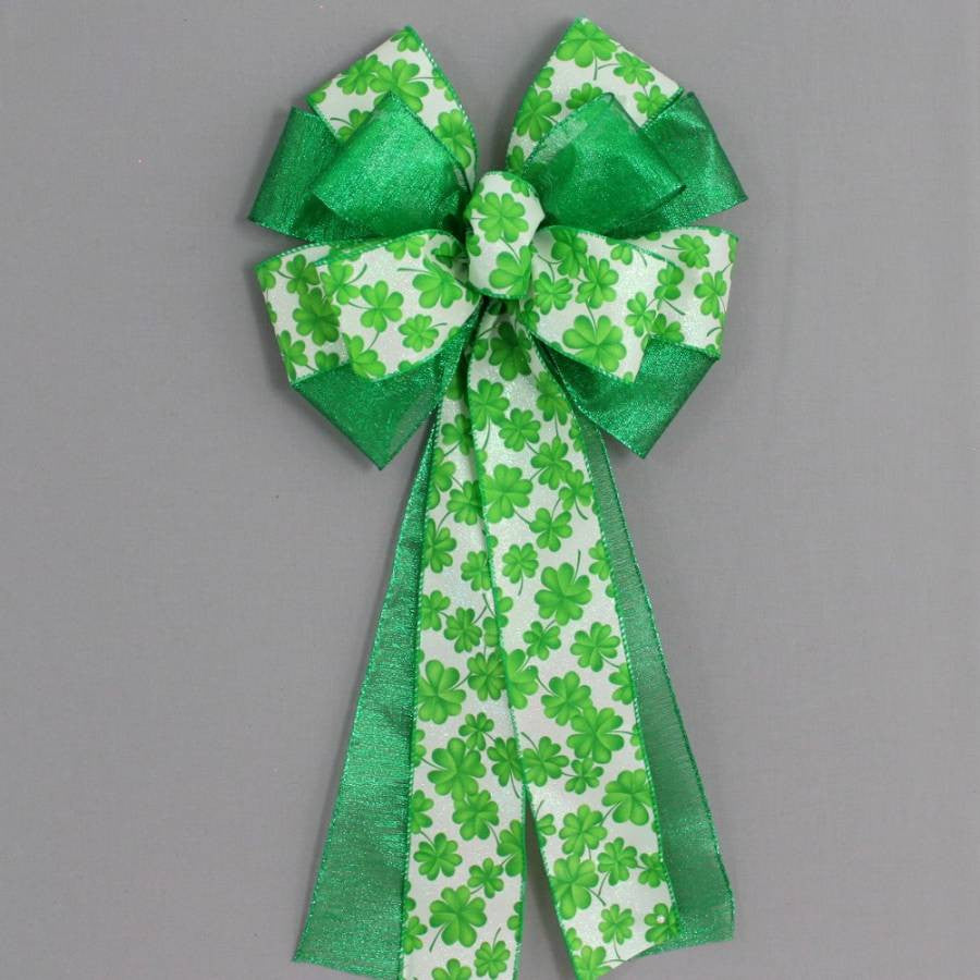 Green Shamrock Metallic St. Patrick's Day Bow - Package Perfect Bows - 2