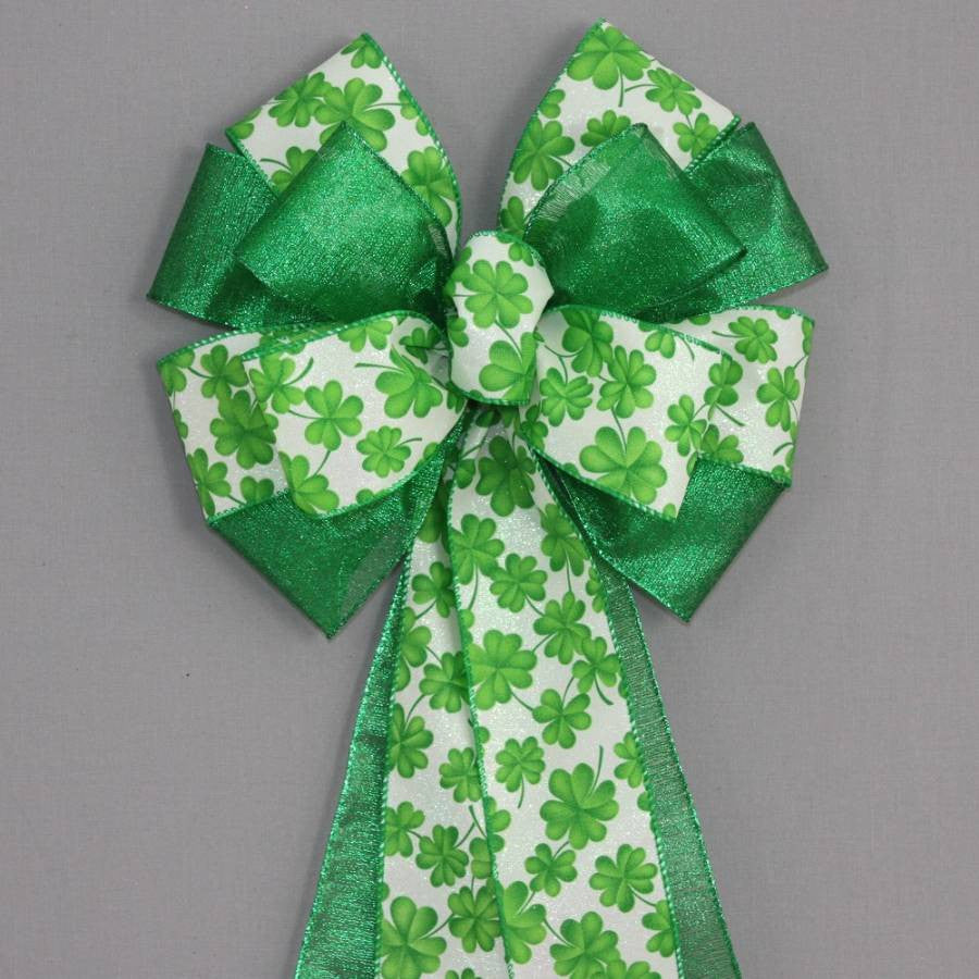 Green Shamrock Metallic St. Patrick's Day Bow - Package Perfect Bows - 1