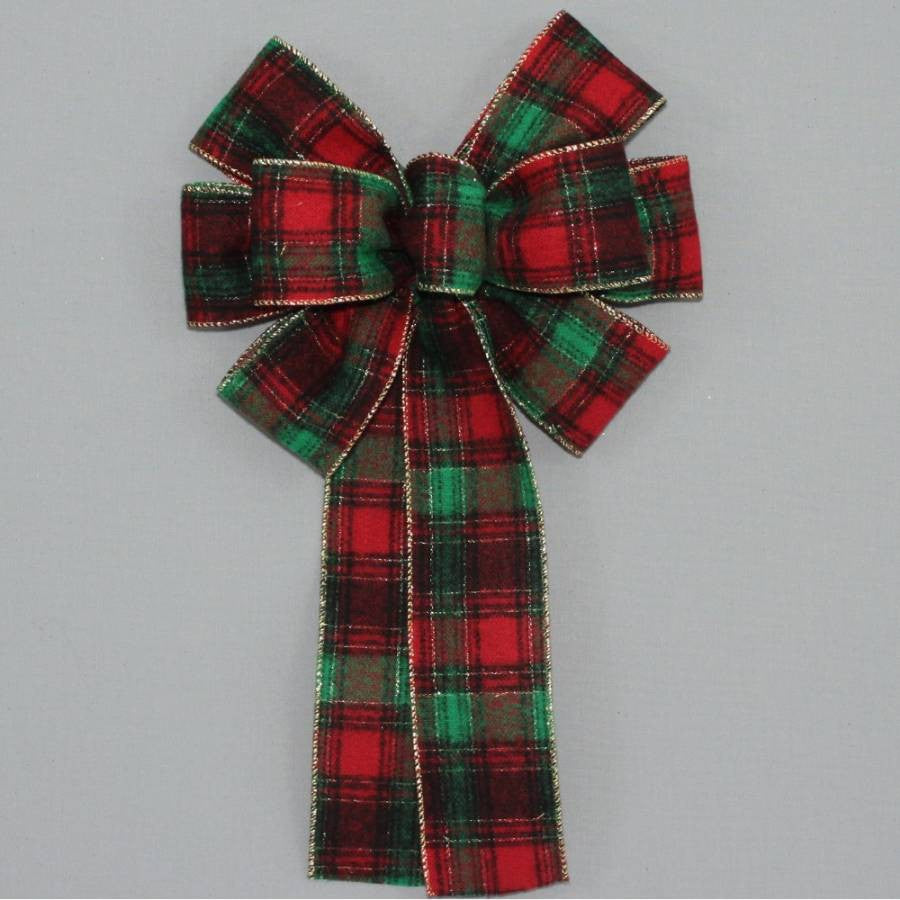 Country Flannel Plaid Christmas Bow - 2 sizes - Package Perfect Bows