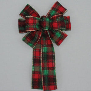 Country Flannel Plaid Christmas Bow - Package Perfect Bows