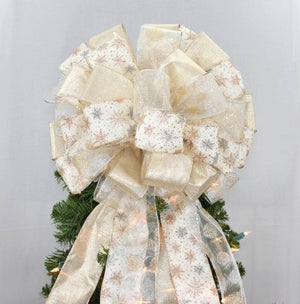 Metallic Snowflake Ivory Christmas Tree Topper Bow - Package Perfect Bows