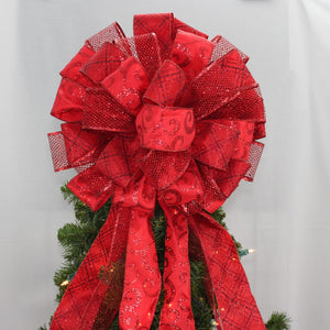 Dark Red Sparkle Christmas Tree Topper Bow - Package Perfect Bows