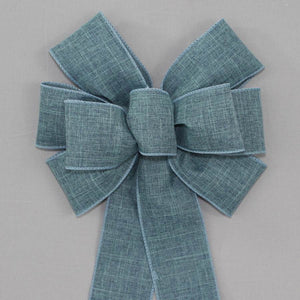 Denim Blue Rustic Linen Wreath Bow