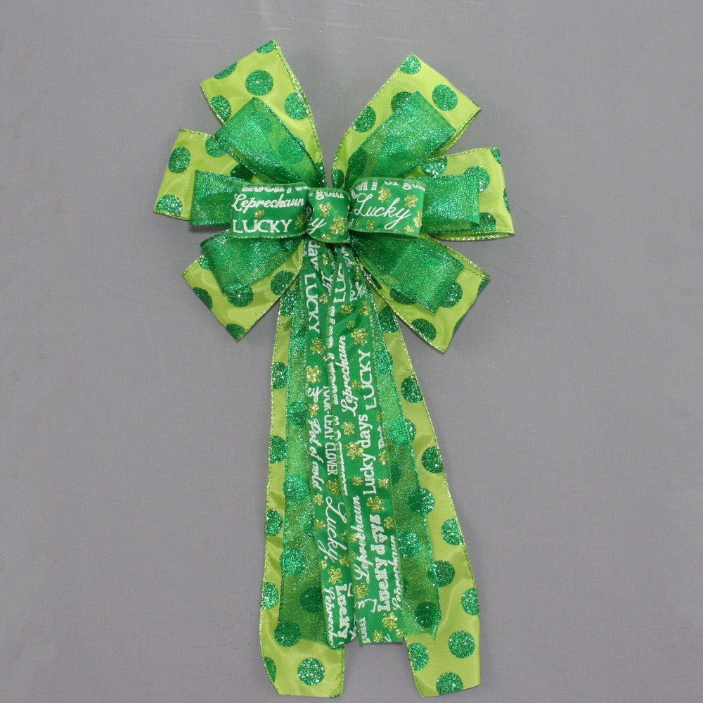 St Patrick's Day Script Green Sparkle Dots Bow