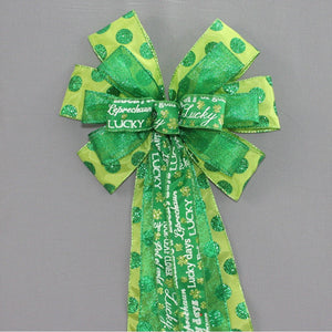 St Patrick's Day Script Green Sparkle Dots Bow - Package Perfect Bows