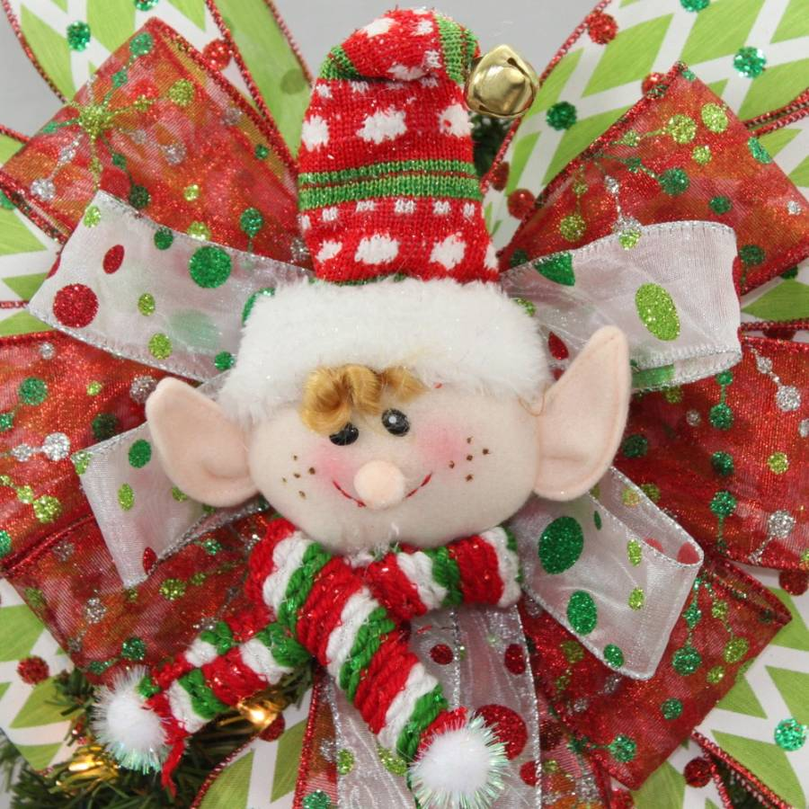 Festive Elf Christmas Tree Topper Bow 13 Wide Package