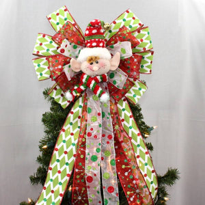 Festive Elf Christmas Tree Topper Bow - Package Perfect Bows