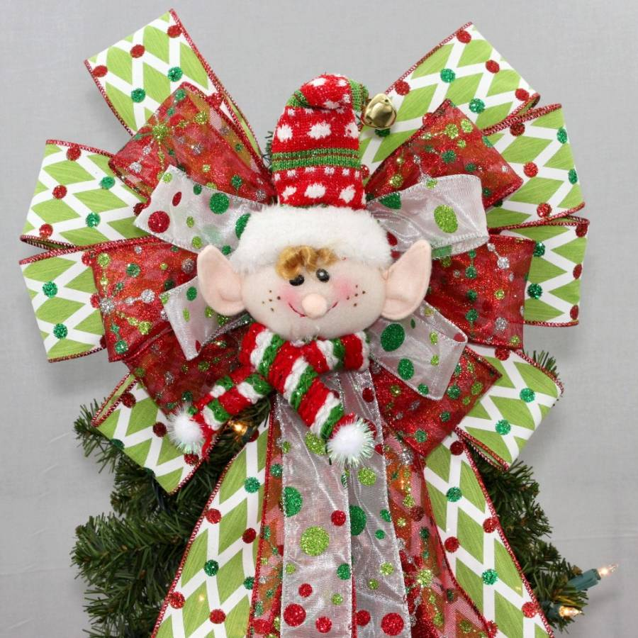 Christmas Tree Bows Red.Christmas Tree Topper Bows Package Perfect Bows
