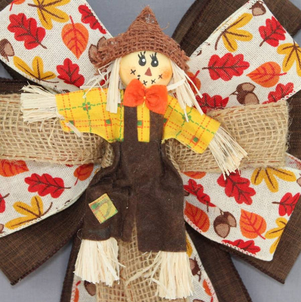 Scarecrow Rustic Burlap Wreath Bow - Package Perfect Bows
