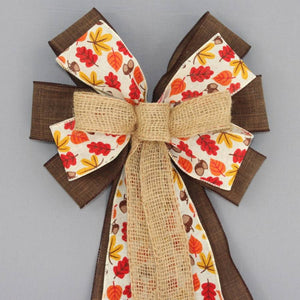 Fall Icons Rustic Burlap Wreath Bow - Package Perfect Bows