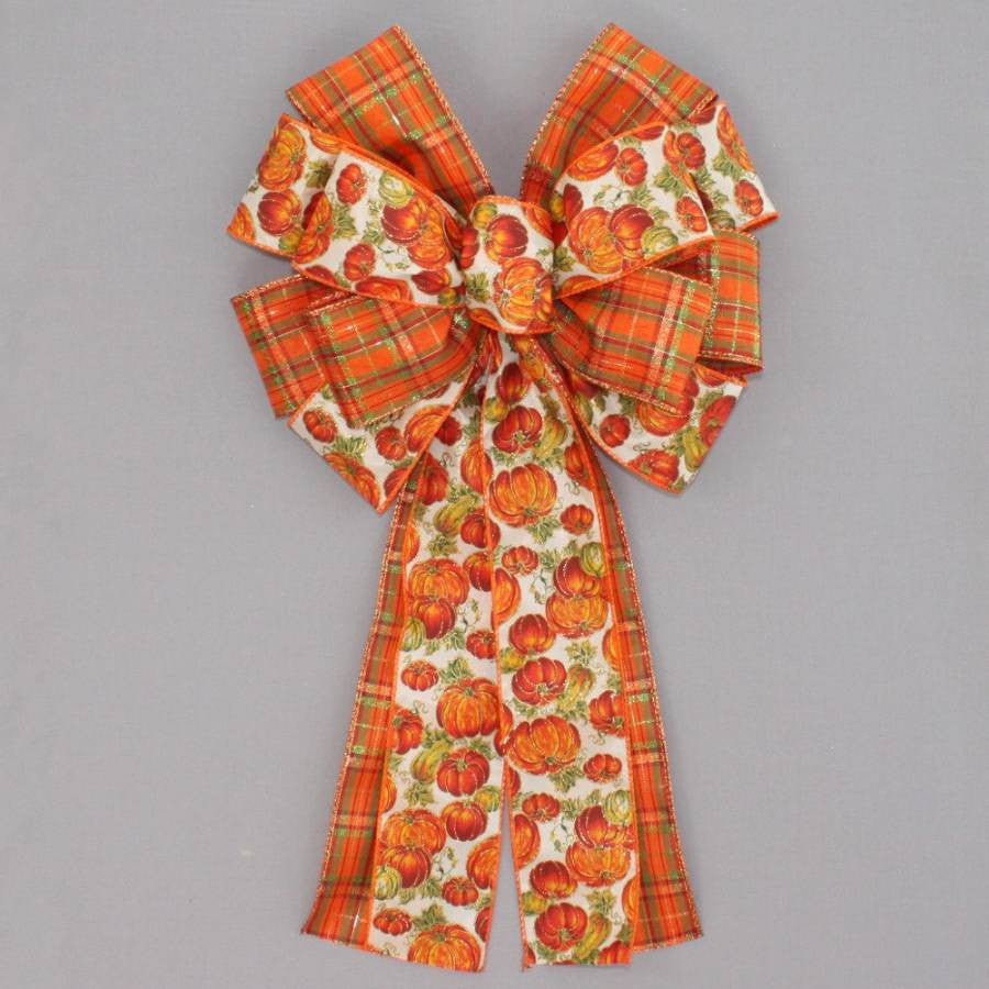 Fall Pumpkin Metallic Plaid Wreath Bow