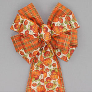 Fall Pumpkin Metallic Plaid Wreath Bow - Package Perfect Bows