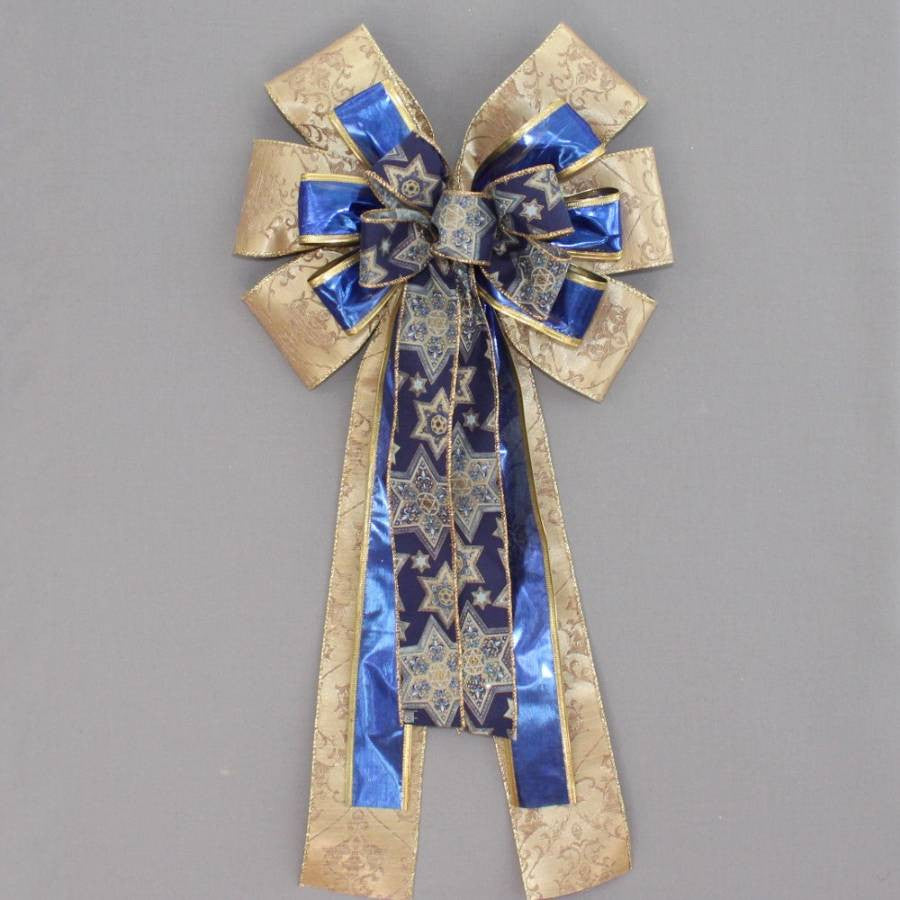 Gold Blue Star of David Hanukkah Bow - Package Perfect Bows