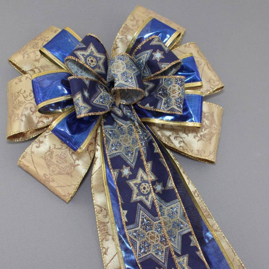 Gold Blue Star of David Hanukkah Bow