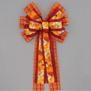 Festive Gourd Fall Plaid Wreath Bow - Package Perfect Bows