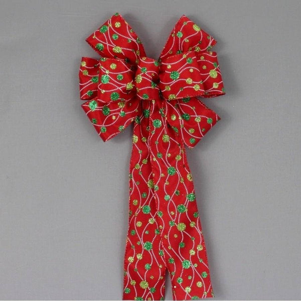 Dotted Line Glitter Dots Christmas Wreath Bow - Package Perfect Bows - 1