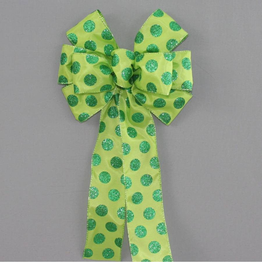 Green Sparkle Dot Wreath Bow - Package Perfect Bows