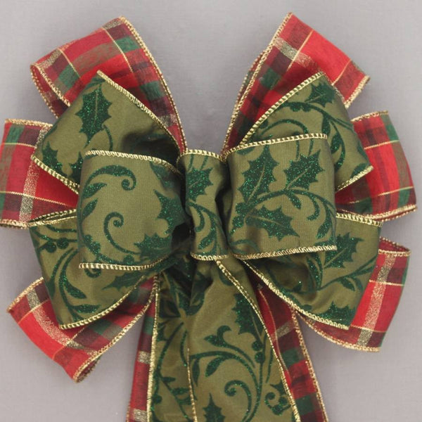 Green Sparkle Holly Plaid Christmas Bow - Package Perfect Bows - 1