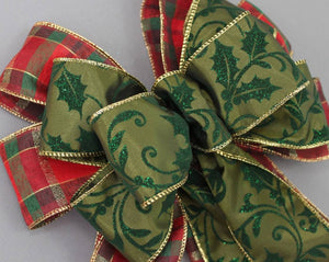 Green Sparkle Holly Plaid Christmas Bow - Package Perfect Bows