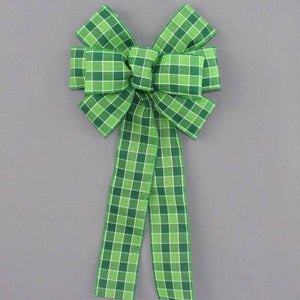 Green Plaid St. Patrick's Day Wreath Bow - Package Perfect Bows