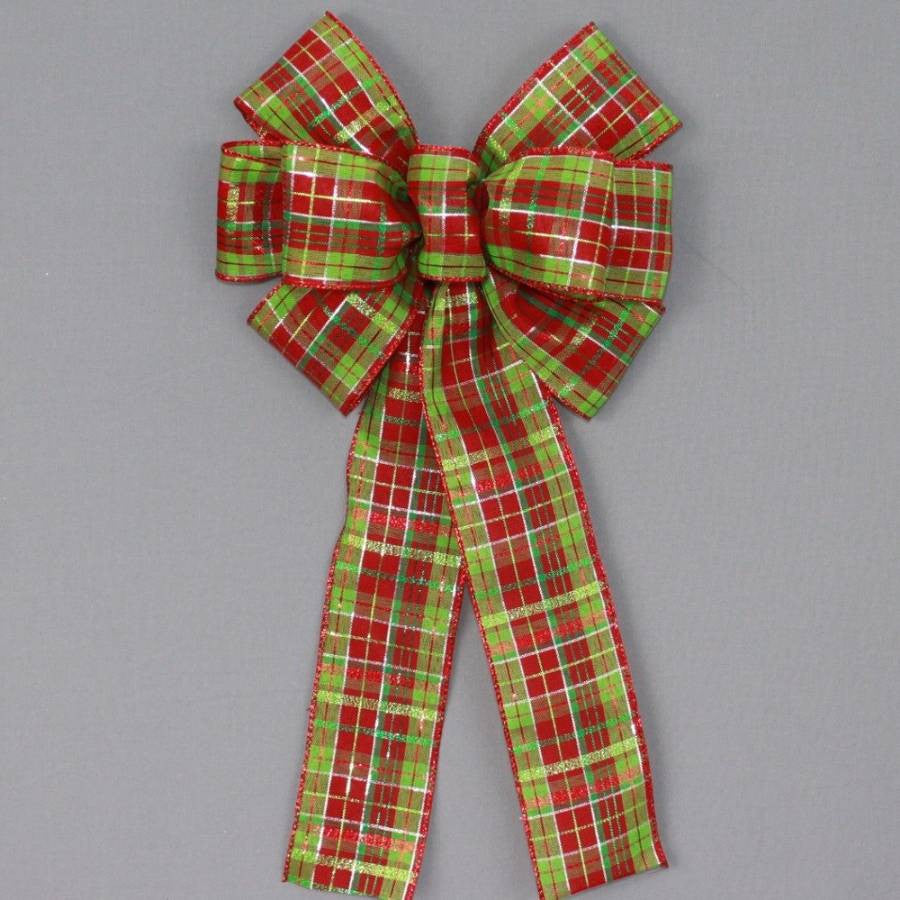 Red Lime Green Metallic Plaid Christmas Bow - Package Perfect Bows - 2