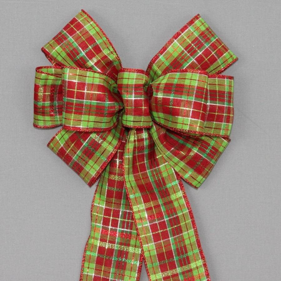 Red Lime Green Metallic Plaid Christmas Bow - Package Perfect Bows - 1