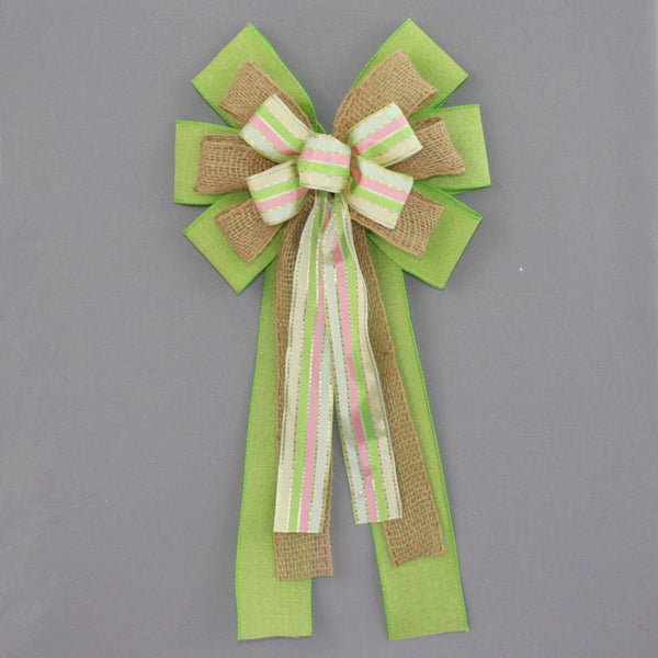 Lime Pastel Stripe Burlap Wreath Bow