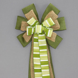 Green Watercolor Stripe Burlap Wreath Bow - Package Perfect Bows