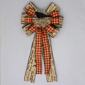 Rustic Halloween Script Crow Wreath Bow - Package Perfect Bows