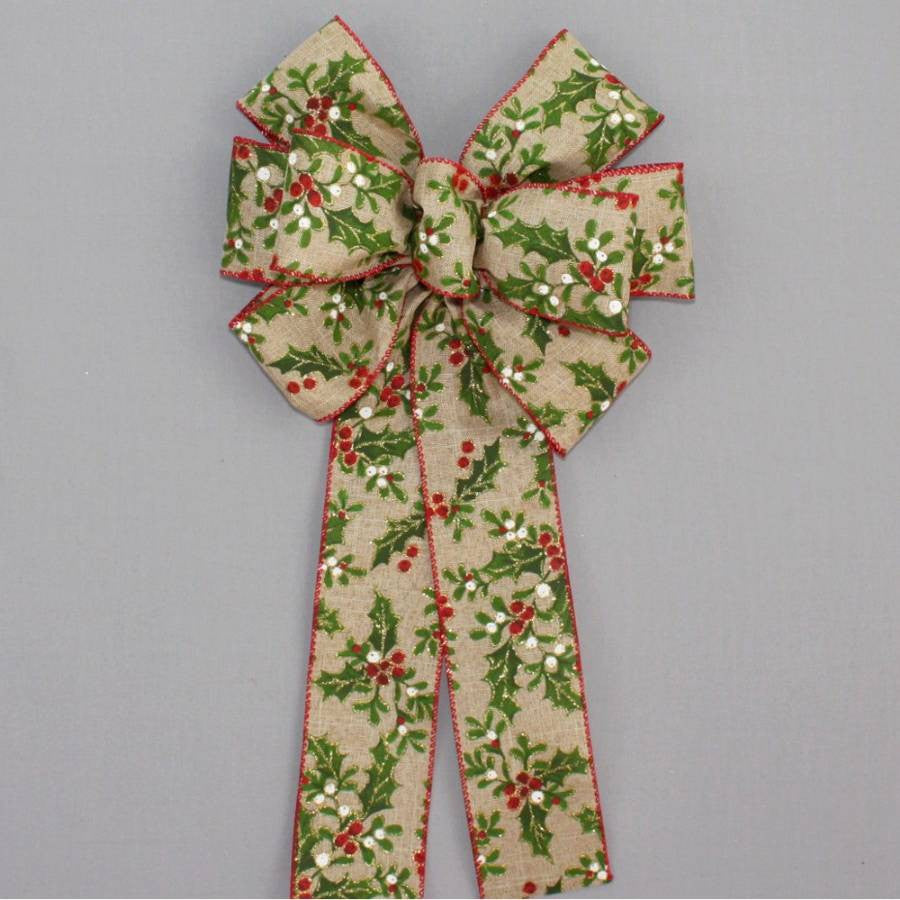 Holly Berry Rustic Linen Christmas Wreath Bow - Package Perfect Bows - 2