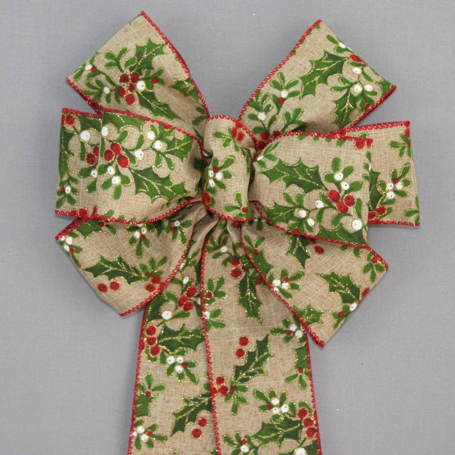 Holly Berry Rustic Linen Christmas Wreath Bow - Package Perfect Bows - 1