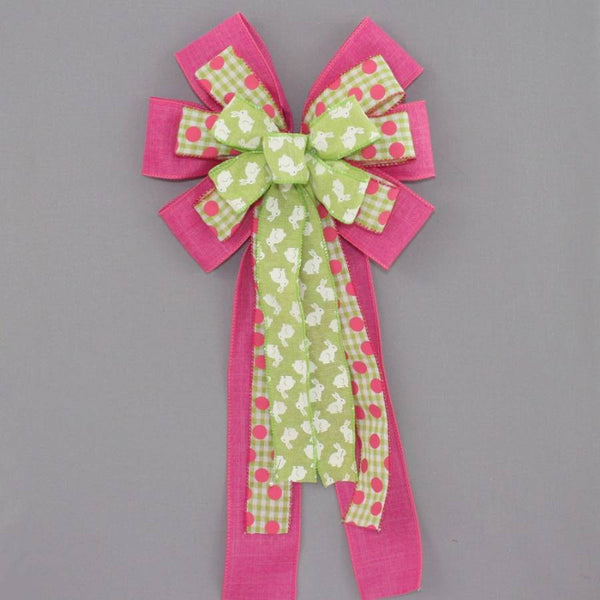 Green Easter Bunny Hot Pink Wreath Bow
