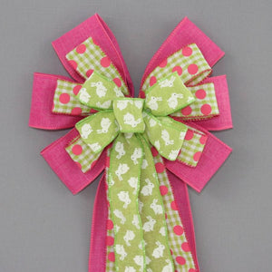 Green Easter Bunny Hot Pink Wreath Bow - Package Perfect Bows