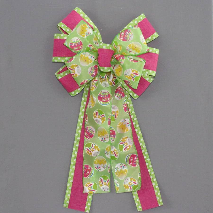 Green Easter Egg Polka Dot Bow - Package Perfect Bows