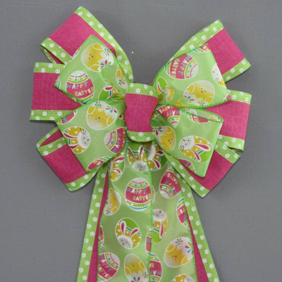 Green Easter Egg Polka Dot Bow
