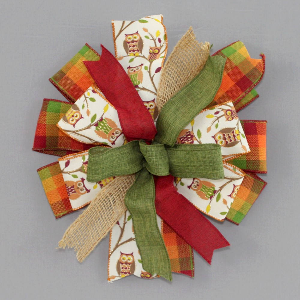 Rustic Fall Plaid Owl Burlap Wreath Bow