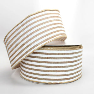 10 yards Natural Linen White Stripe Wire Edge Ribbon