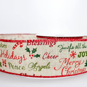 10 yards Script Merry Christmas Burlap Wire Edge Ribbon