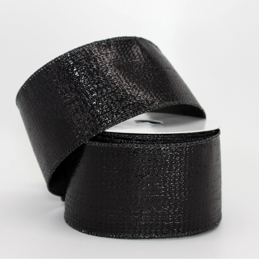 10 yards Black Metallic Halloween Wire Edge Ribbon