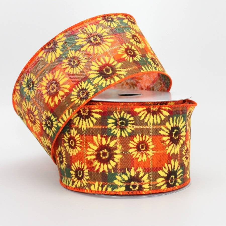10 yards Sunflower Fall Plaid Wire Edge Ribbon